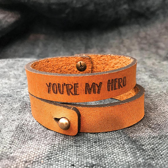 leather bracelet for men on valentines - you're my hero